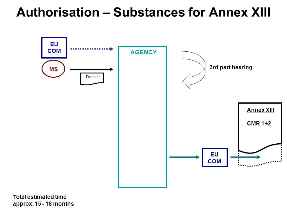 Authorisation – Substances for Annex XIII Total estimated time approx.