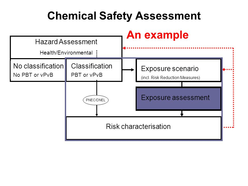 Chemical Safety Assessment Hazard Assessment Health/Environmental No classification No PBT or vPvB Exposure scenario (incl.