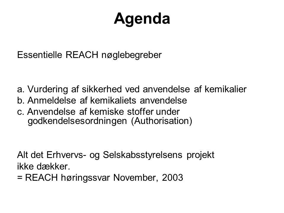 Agenda Essentielle REACH nøglebegreber a. Vurdering af sikkerhed ved anvendelse af kemikalier b.