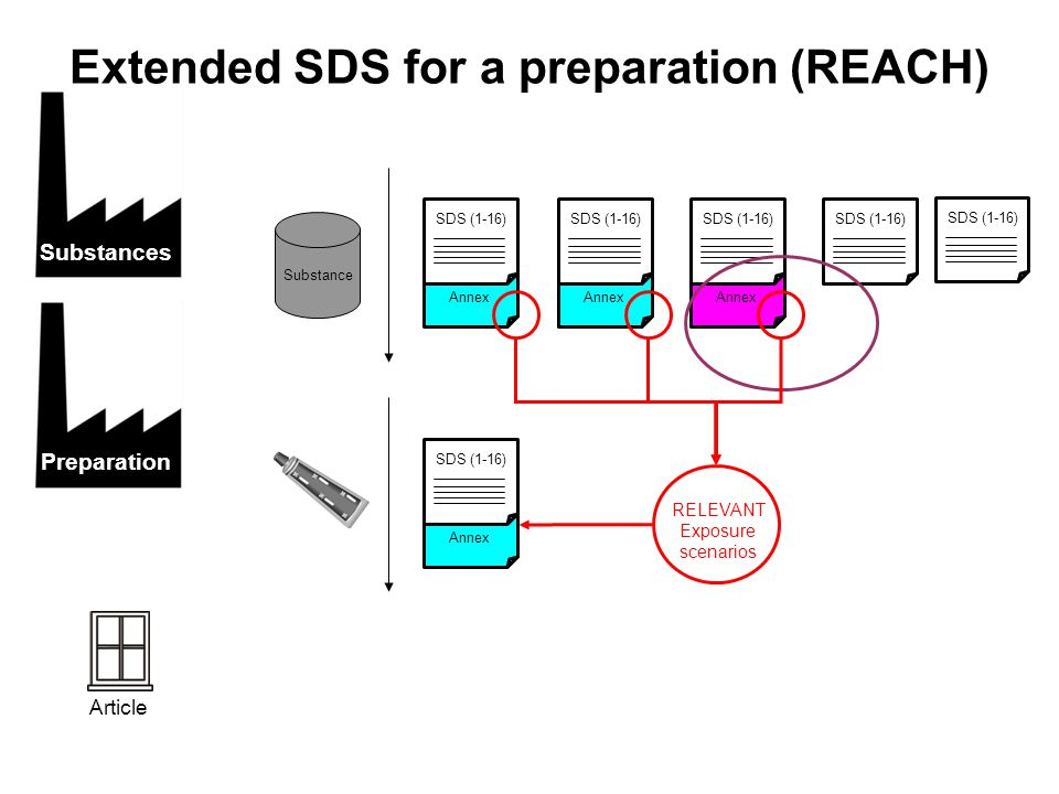 Extended SDS for a preparation (REACH) RELEVANT Exposure scenarios Annex SDS (1-16) Substance Annex SDS (1-16) Annex SDS (1-16) Annex SDS (1-16) Substances Preparation Article