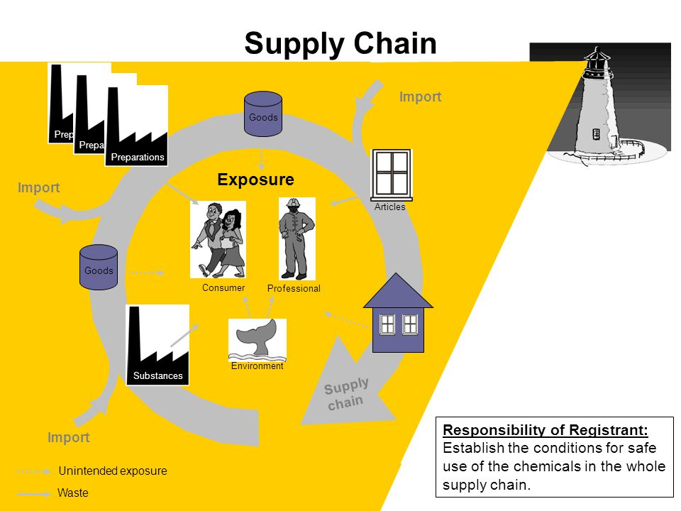 Supply chain Import Unintended exposure Supply Chain Responsibility of Registrant: Establish the conditions for safe use of the chemicals in the whole supply chain.