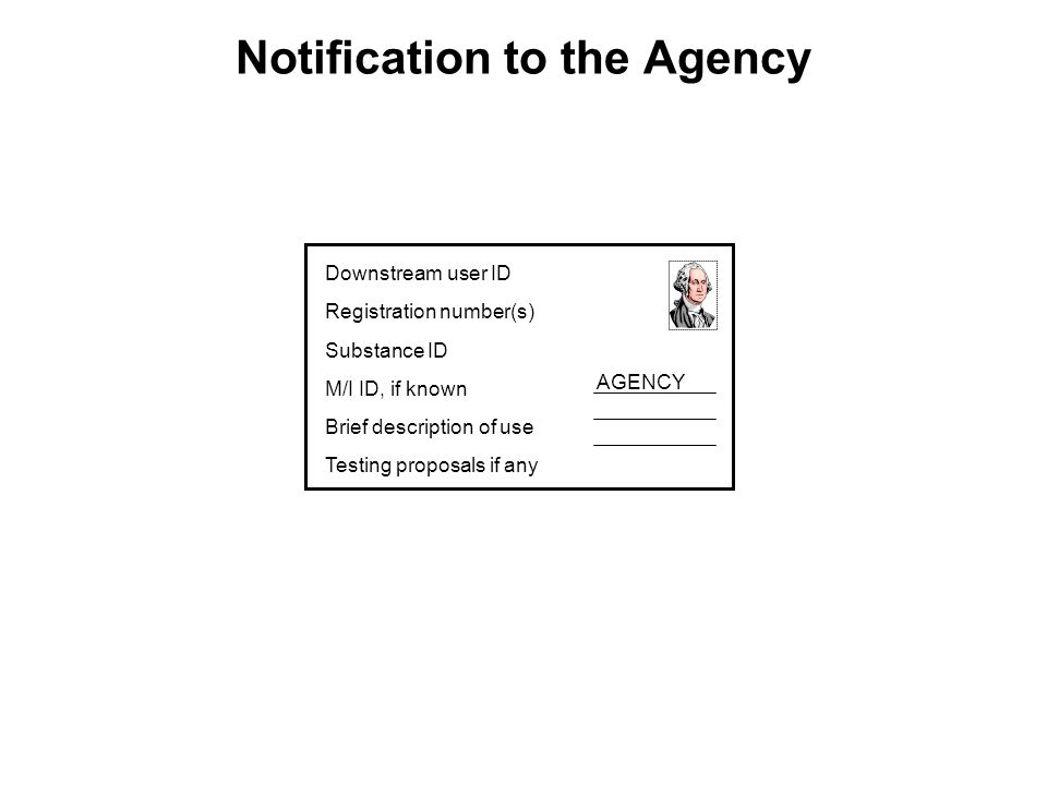 Notification to the Agency Downstream user ID Registration number(s) Substance ID M/I ID, if known Brief description of use Testing proposals if any AGENCY