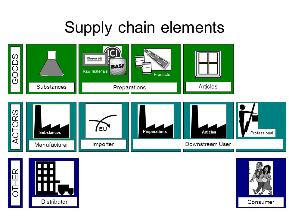 OTHER Supply chain elements Articles Substances GOODS DistributorConsumer ACTORS Manufacturer Substances Importer EU Raw materials Products Preparations Articles Professional Downstream User