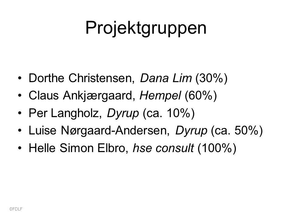 Projektgruppen Dorthe Christensen, Dana Lim (30%) Claus Ankjærgaard, Hempel (60%) Per Langholz, Dyrup (ca.