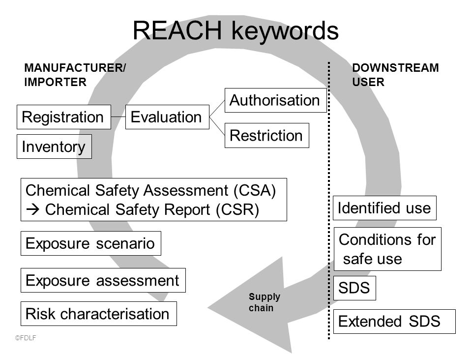 Supply chain REACH keywords MANUFACTURER/ IMPORTER DOWNSTREAM USER Chemical Safety Assessment (CSA)  Chemical Safety Report (CSR) Exposure scenario Exposure assessment Risk characterisation SDS Extended SDS Identified use Conditions for safe use Authorisation Restriction RegistrationEvaluation Inventory ©FDLF
