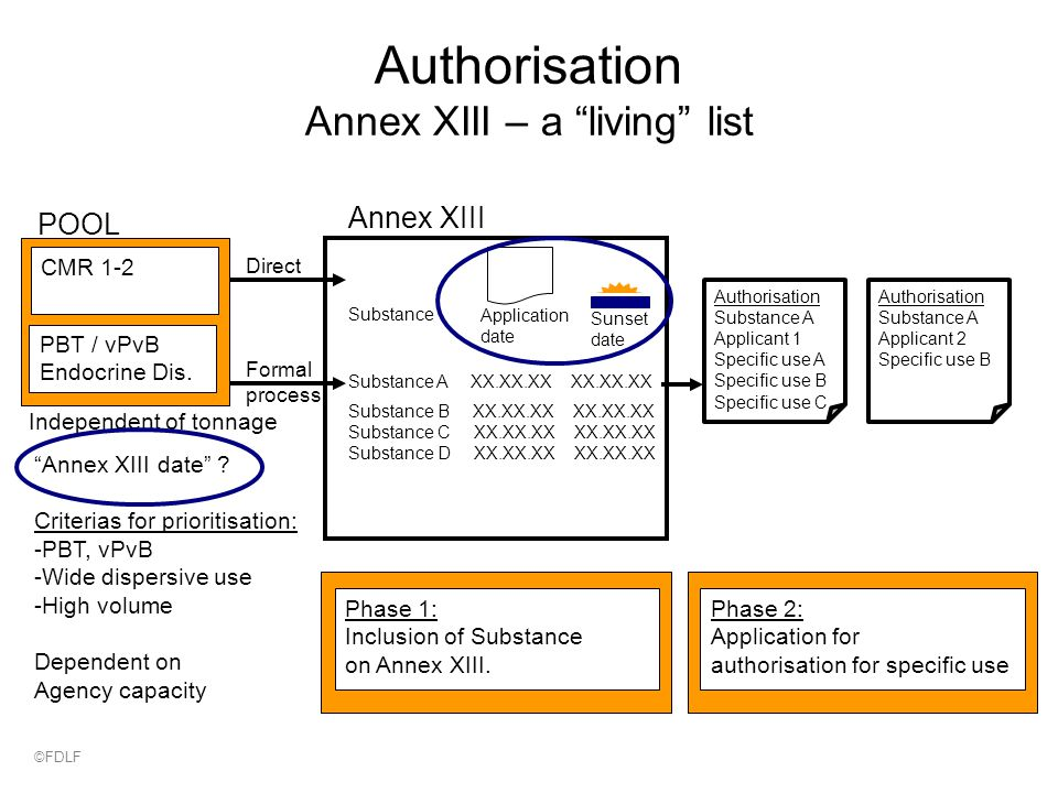 POOL Independent of tonnage Authorisation Annex XIII – a living list Annex XIII Substance B XX.XX.XX XX.XX.XX Substance C XX.XX.XX XX.XX.XX Substance D XX.XX.XX XX.XX.XX Substance A XX.XX.XX XX.XX.XX Substance Application date Sunset date Annex XIII date .