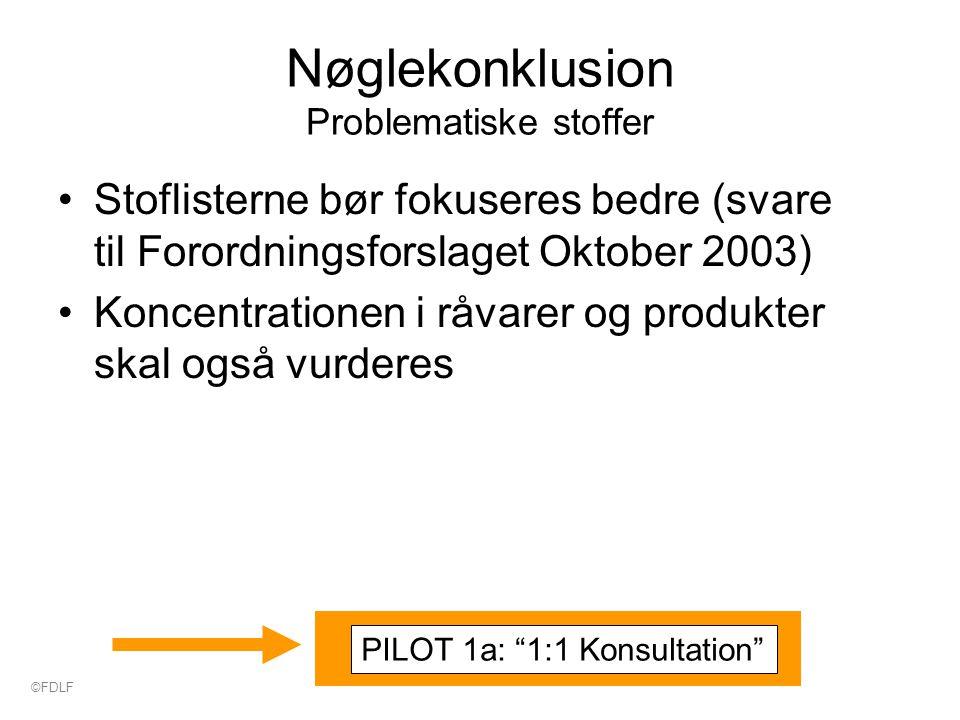 Nøglekonklusion Problematiske stoffer Stoflisterne bør fokuseres bedre (svare til Forordningsforslaget Oktober 2003) Koncentrationen i råvarer og produkter skal også vurderes PILOT 1a: 1:1 Konsultation ©FDLF