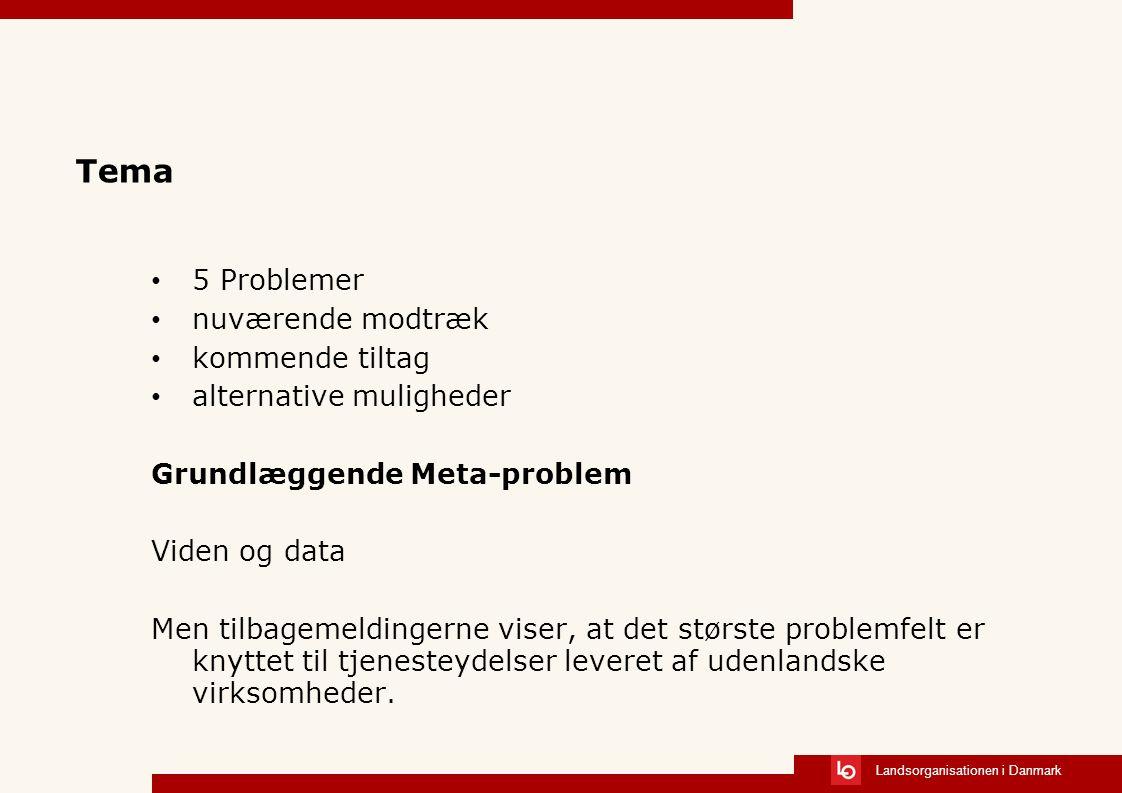 Landsorganisationen i Danmark Tema 5 Problemer nuværende modtræk kommende tiltag alternative muligheder Grundlæggende Meta-problem Viden og data Men tilbagemeldingerne viser, at det største problemfelt er knyttet til tjenesteydelser leveret af udenlandske virksomheder.