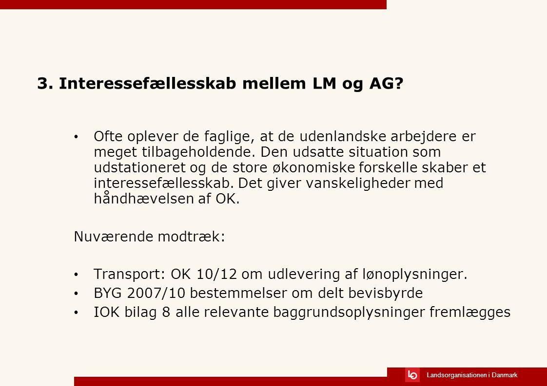 Landsorganisationen i Danmark 3. Interessefællesskab mellem LM og AG.
