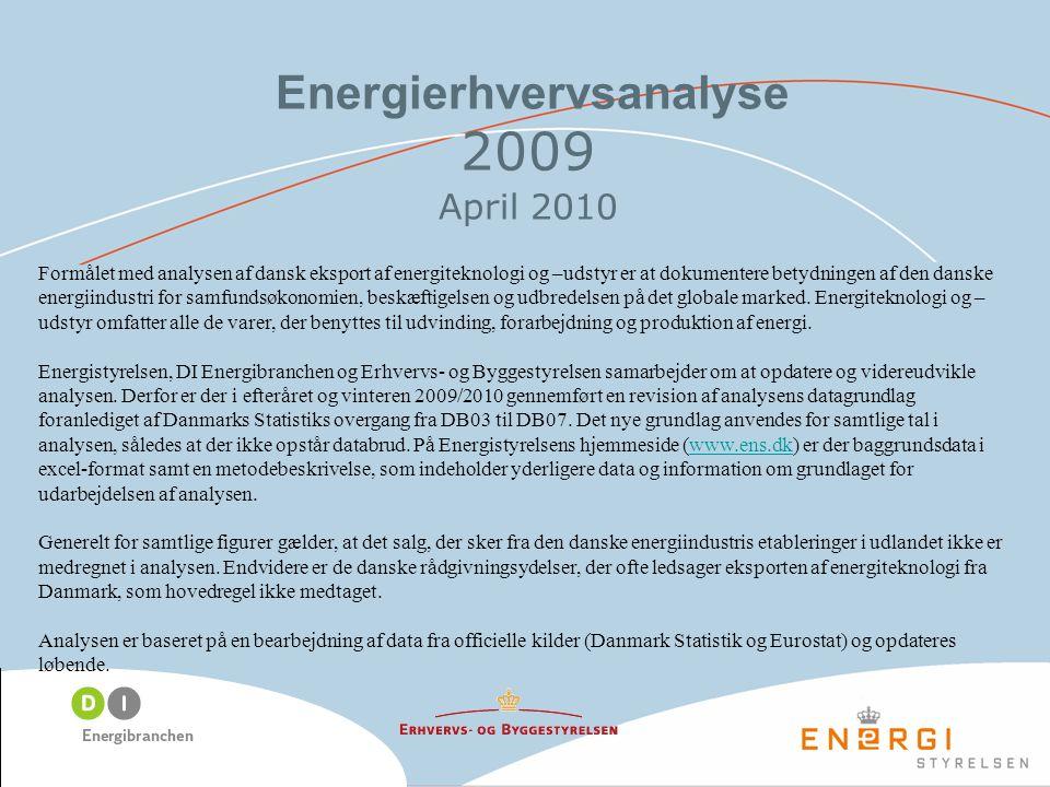 Energierhvervsanalyse 2009 April 2010 Formålet med analysen af dansk eksport af energiteknologi og –udstyr er at dokumentere betydningen af den danske energiindustri for samfundsøkonomien, beskæftigelsen og udbredelsen på det globale marked.