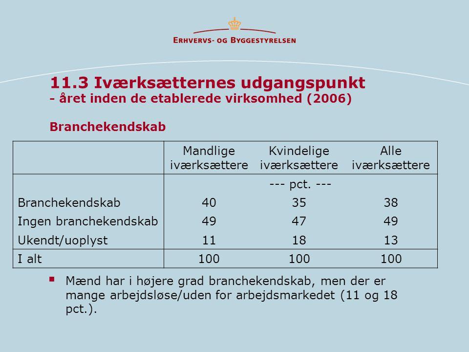 11.3 Iværksætternes udgangspunkt - året inden de etablerede virksomhed (2006) Branchekendskab  Mænd har i højere grad branchekendskab, men der er mange arbejdsløse/uden for arbejdsmarkedet (11 og 18 pct.).