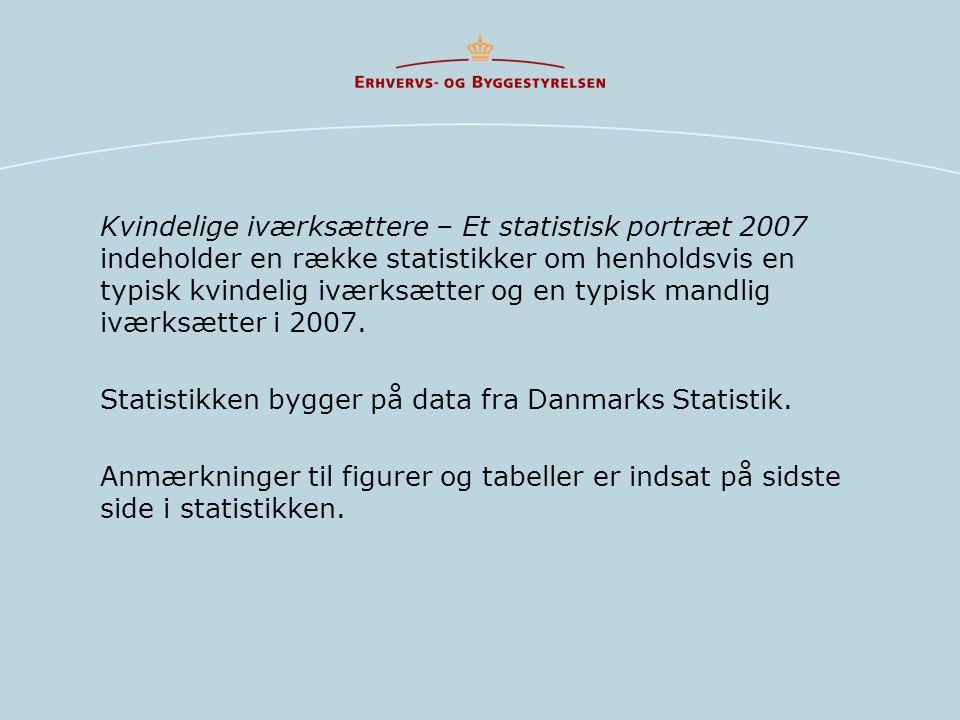 Kvindelige iværksættere – Et statistisk portræt 2007 indeholder en række statistikker om henholdsvis en typisk kvindelig iværksætter og en typisk mandlig iværksætter i 2007.