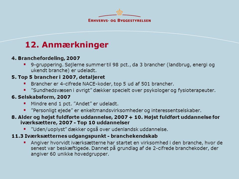 12. Anmærkninger 4. Branchefordeling, 2007  9-gruppering.