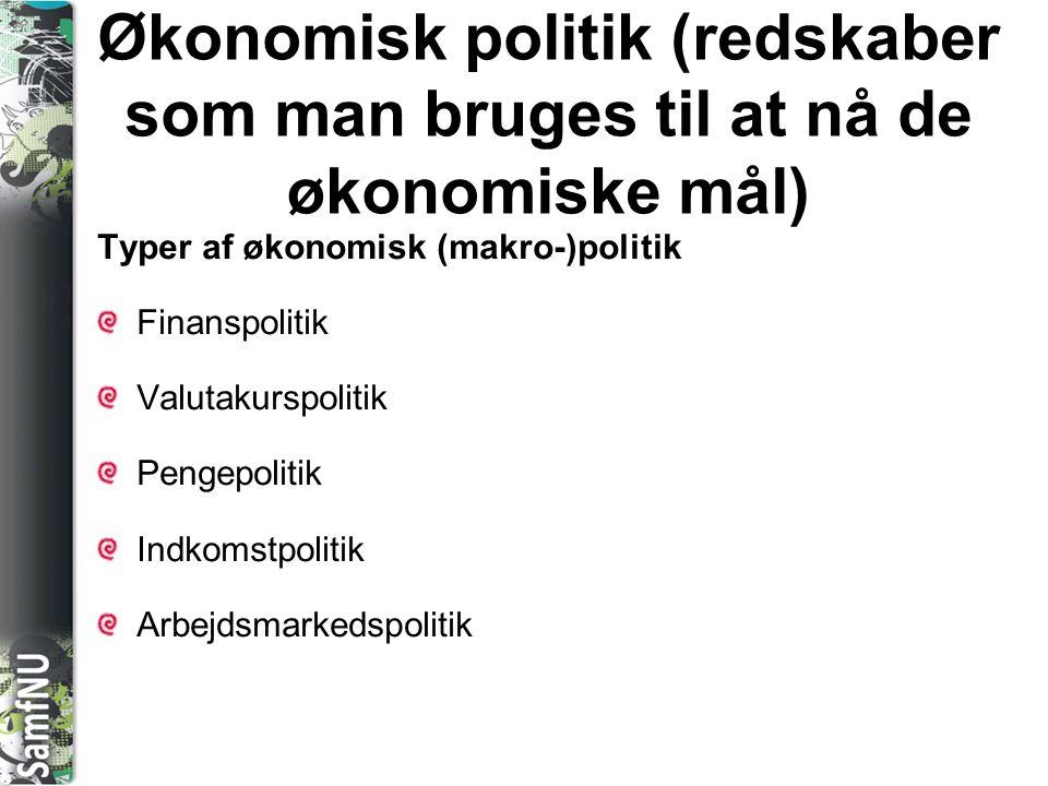 SAMFNU Økonomisk politik (redskaber som man bruges til at nå de økonomiske mål) Typer af økonomisk (makro-)politik Finanspolitik Valutakurspolitik Pen