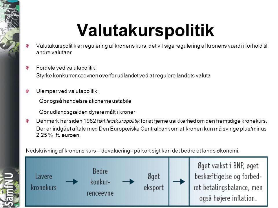 SAMFNU Valutakurspolitik Valutakurspolitik er regulering af kronens kurs, det vil sige regulering af kronens værdi i forhold til andre valutaer Fordel