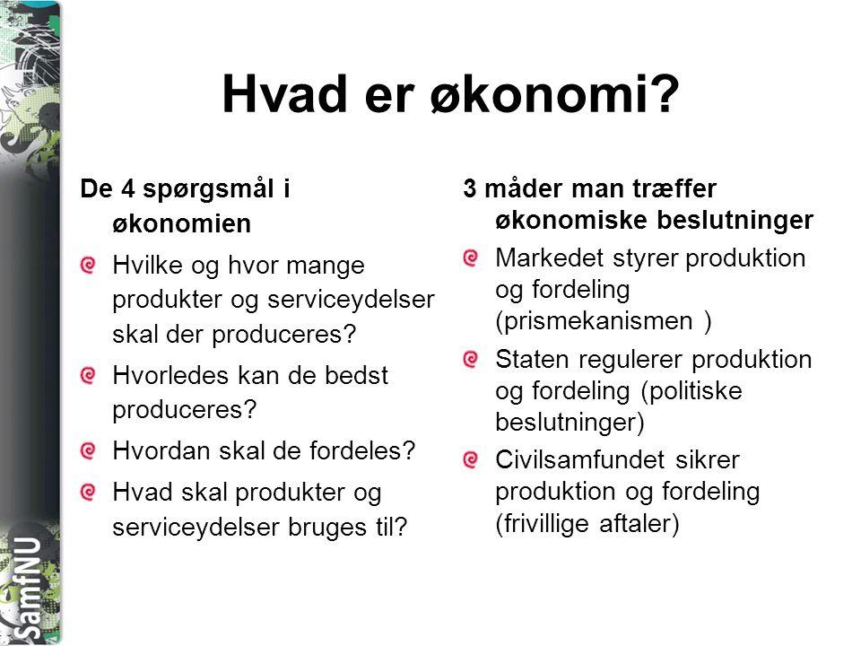 SAMFNU Hvad er økonomi? De 4 spørgsmål i økonomien Hvilke og hvor mange produkter og serviceydelser skal der produceres? Hvorledes kan de bedst produc