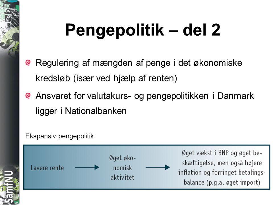 SAMFNU Pengepolitik – del 2 Regulering af mængden af penge i det økonomiske kredsløb (især ved hjælp af renten) Ansvaret for valutakurs- og pengepolit