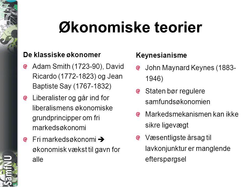 SAMFNU Økonomiske teorier De klassiske økonomer Adam Smith (1723-90), David Ricardo (1772-1823) og Jean Baptiste Say (1767-1832) Liberalister og går i