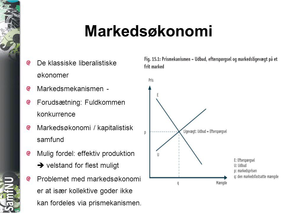 SAMFNU Økonomiske teorier De klassiske økonomer Adam Smith (1723-90), David Ricardo (1772-1823) og Jean Baptiste Say (1767-1832) Liberalister og går ind for liberalismens økonomiske grundprincipper om fri markedsøkonomi Fri markedsøkonomi  økonomisk vækst til gavn for alle Keynesianisme John Maynard Keynes (1883- 1946) Staten bør regulere samfundsøkonomien Markedsmekanismen kan ikke sikre ligevægt Væsentligste årsag til lavkonjunktur er manglende efterspørgsel