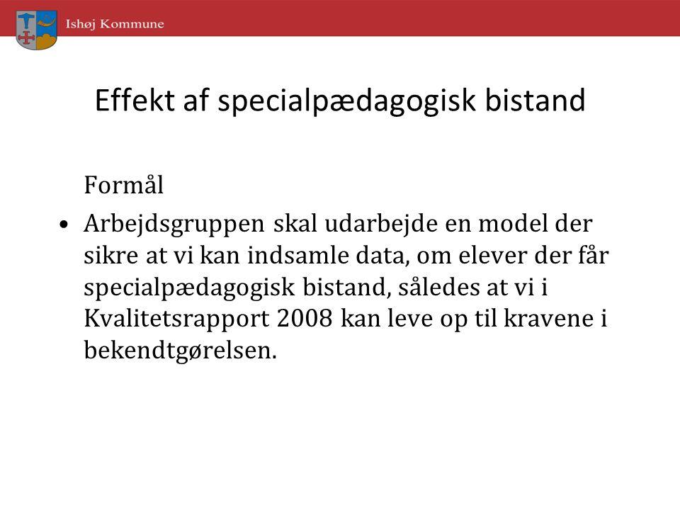 Effekt af specialpædagogisk bistand Formål Arbejdsgruppen skal udarbejde en model der sikre at vi kan indsamle data, om elever der får specialpædagogisk bistand, således at vi i Kvalitetsrapport 2008 kan leve op til kravene i bekendtgørelsen.