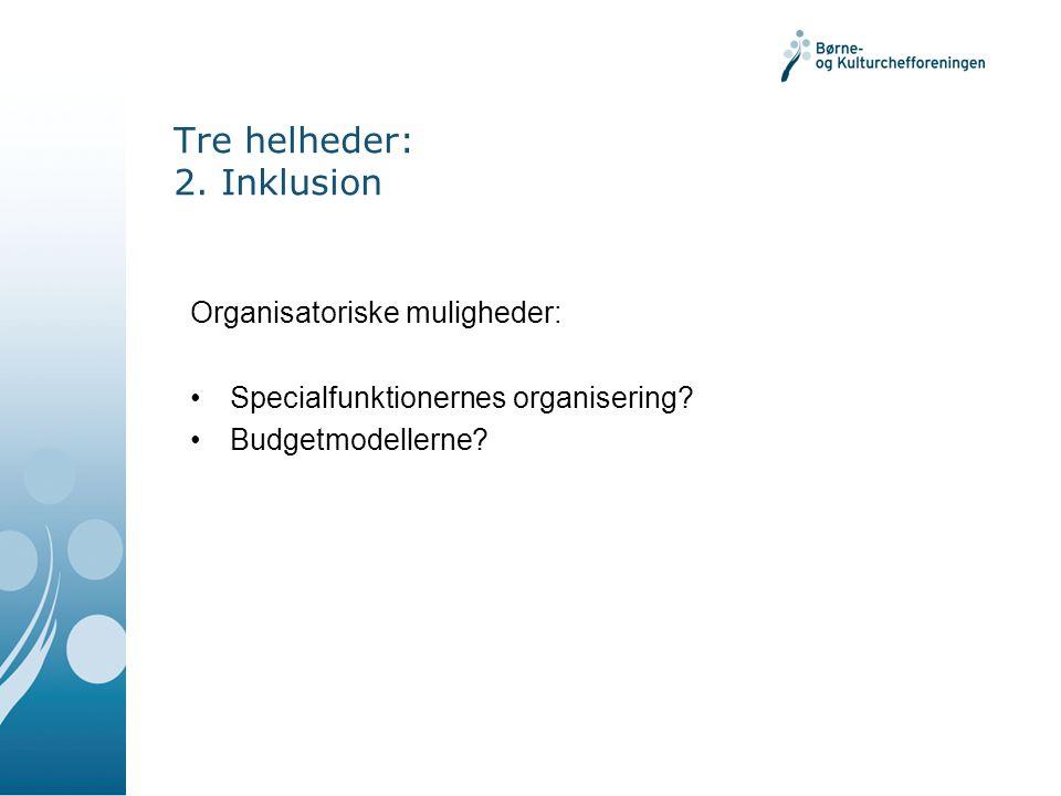 Tre helheder: 2. Inklusion Organisatoriske muligheder: Specialfunktionernes organisering.