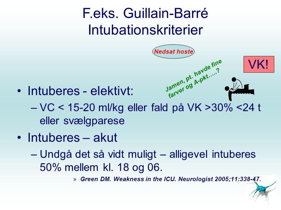 F.eks. Guillain-Barré Intubationskriterier Intuberes - elektivt: –VC 30% <24 t eller svælgparese Intuberes – akut –Undgå det så vidt muligt – alligeve