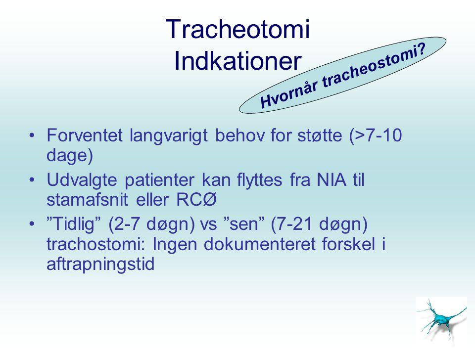 """Tracheotomi Indkationer Forventet langvarigt behov for støtte (>7-10 dage) Udvalgte patienter kan flyttes fra NIA til stamafsnit eller RCØ """"Tidlig"""" (2"""
