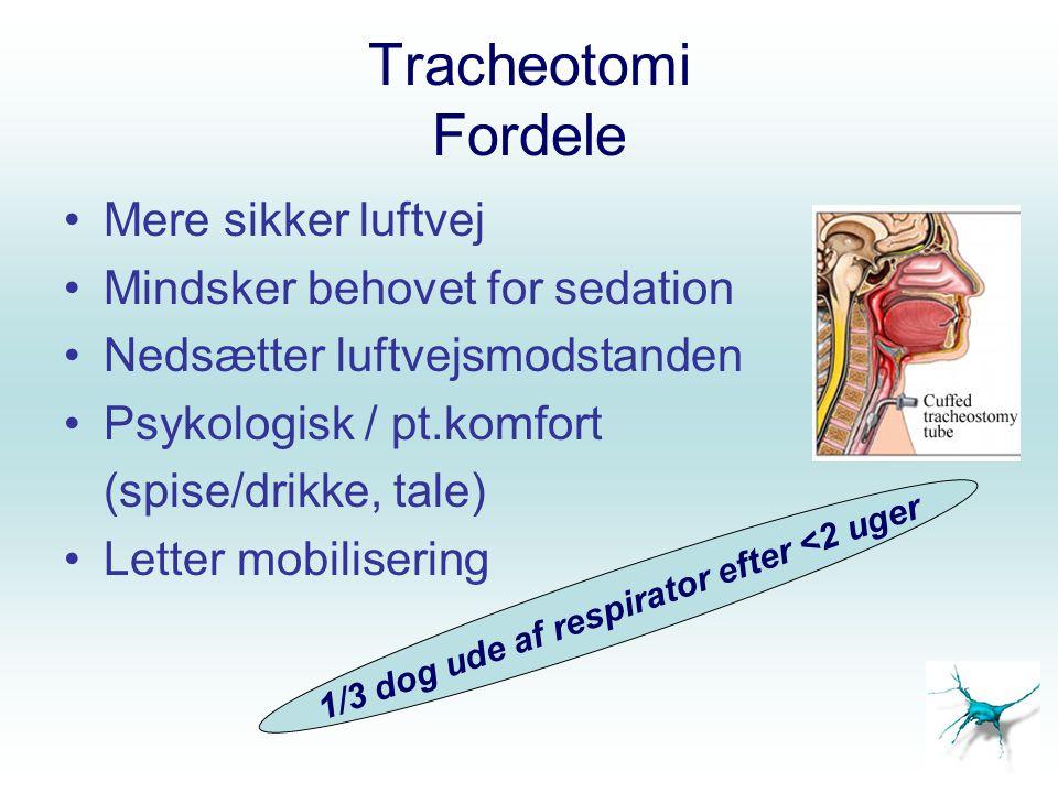 Tracheotomi Fordele Mere sikker luftvej Mindsker behovet for sedation Nedsætter luftvejsmodstanden Psykologisk / pt.komfort (spise/drikke, tale) Lette