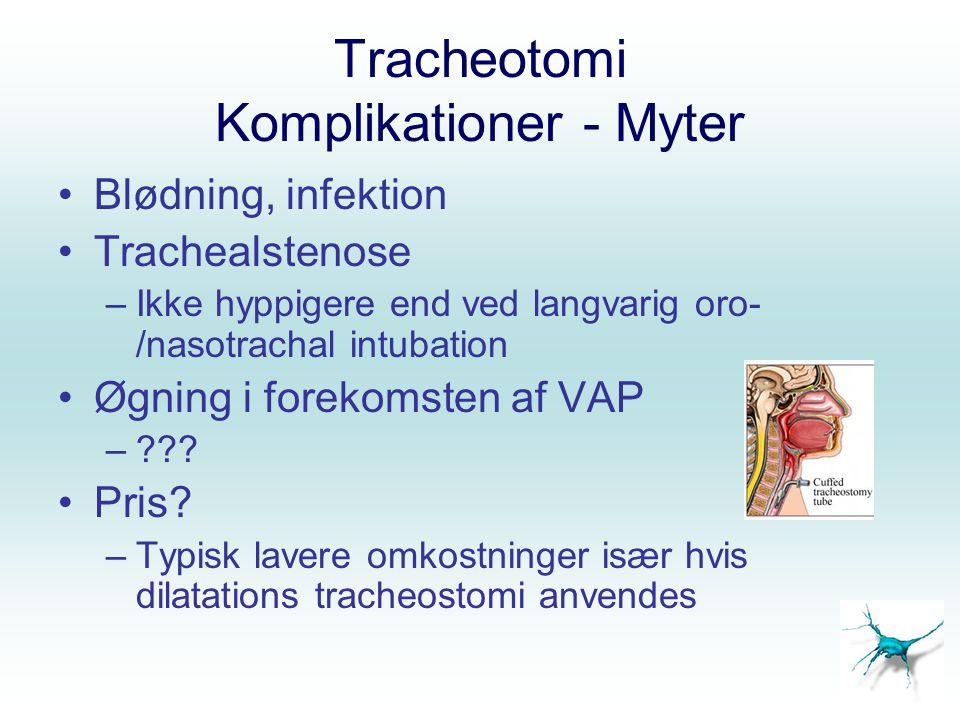 Tracheotomi Komplikationer - Myter Blødning, infektion Trachealstenose –Ikke hyppigere end ved langvarig oro- /nasotrachal intubation Øgning i forekom
