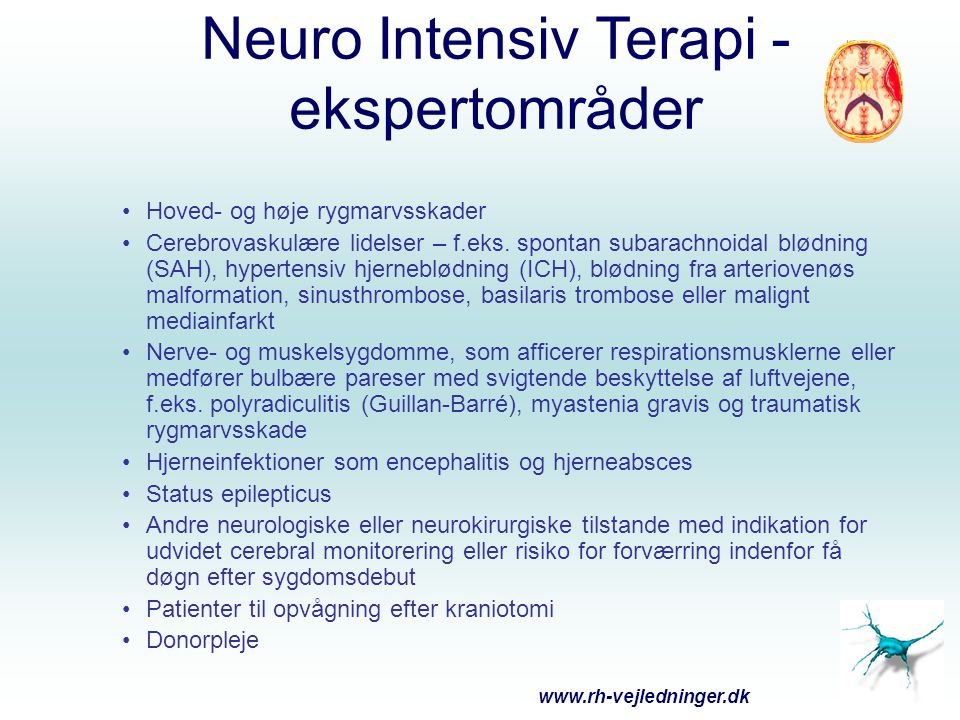 Neuro Intensiv Terapi - ekspertområder Hoved- og høje rygmarvsskader Cerebrovaskulære lidelser – f.eks. spontan subarachnoidal blødning (SAH), hyperte