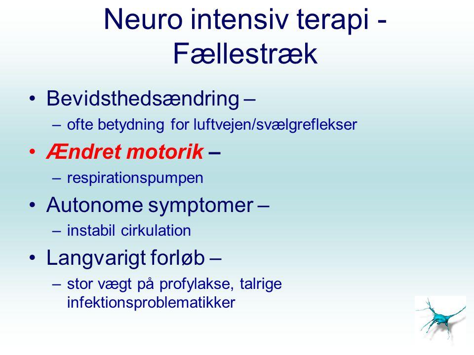 Hypodynamisk respirationsinsufficiens 1.Guillian-Barré (Polyradikulit) 1-4/100.000 Akut Motorisk Axonal Neuropati (AMAN) – 30% kræver assisteret ventilation 2.Myastenia Gravis, Miller Fisher 3.Tetrapareser 4.Muskel svindlerne – kronisk NM sgd 5.CIP (alm.