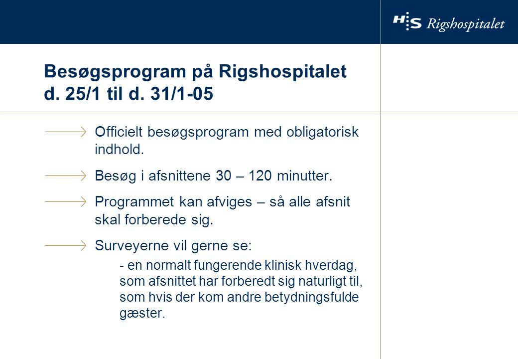 Besøgsprogram på Rigshospitalet d. 25/1 til d.