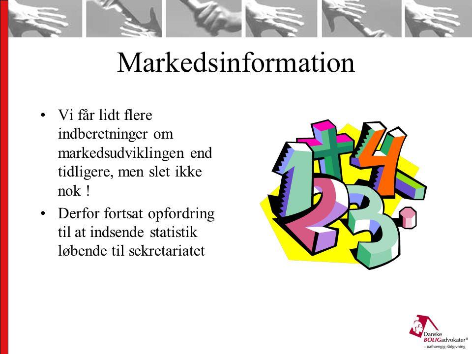 Markedsinformation Vi får lidt flere indberetninger om markedsudviklingen end tidligere, men slet ikke nok .