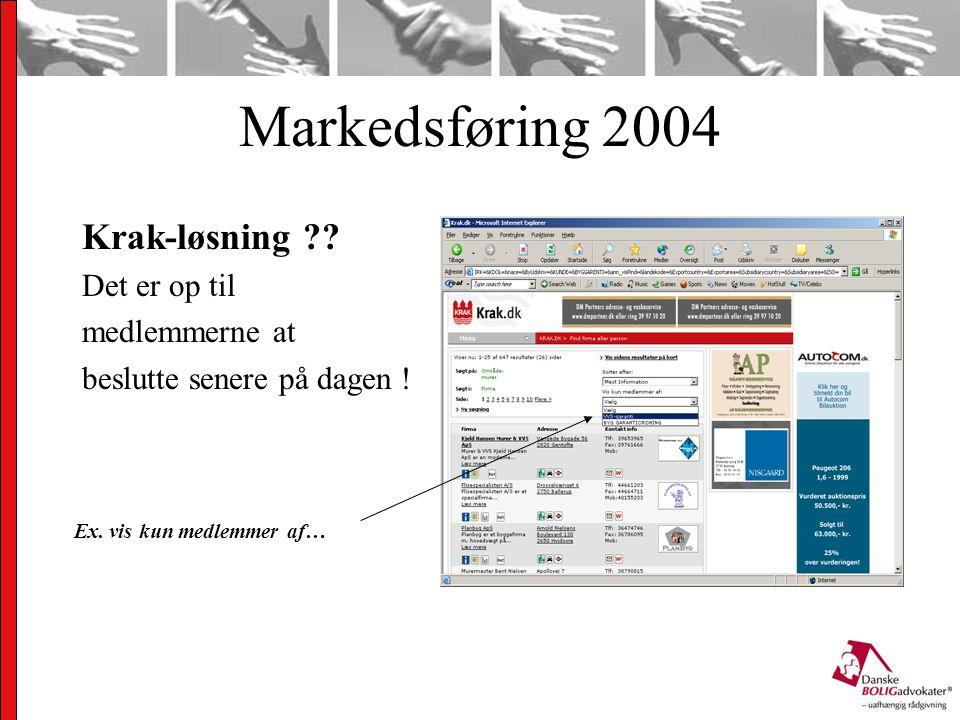 Markedsføring 2004 Krak-løsning . Det er op til medlemmerne at beslutte senere på dagen .