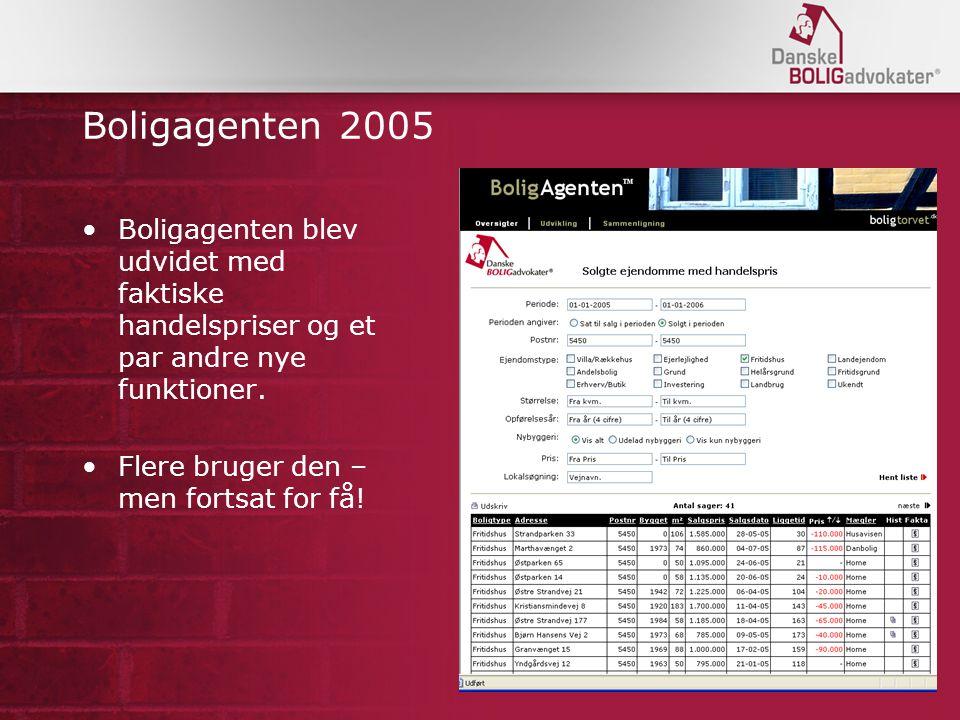 Boligagenten 2005 Boligagenten blev udvidet med faktiske handelspriser og et par andre nye funktioner.