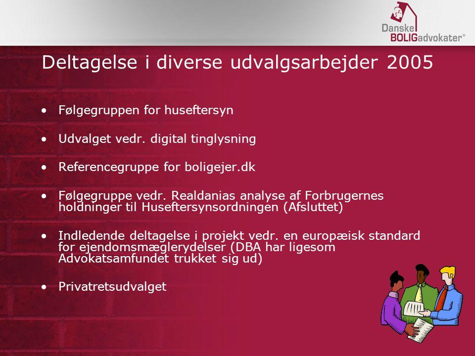 Deltagelse i diverse udvalgsarbejder 2005 Følgegruppen for huseftersyn Udvalget vedr.