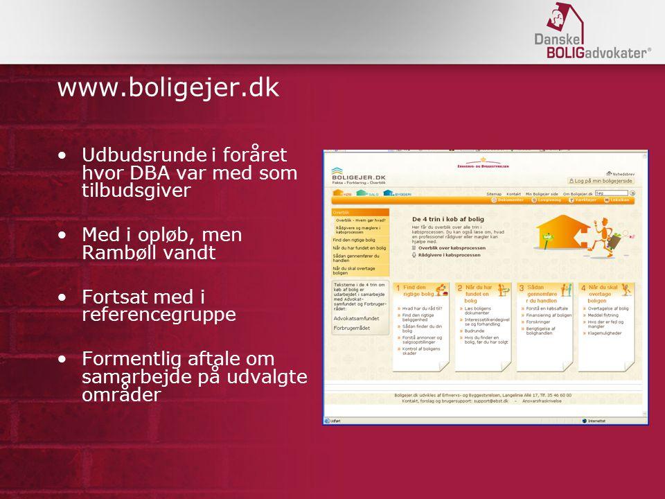 www.boligejer.dk Udbudsrunde i foråret hvor DBA var med som tilbudsgiver Med i opløb, men Rambøll vandt Fortsat med i referencegruppe Formentlig aftale om samarbejde på udvalgte områder