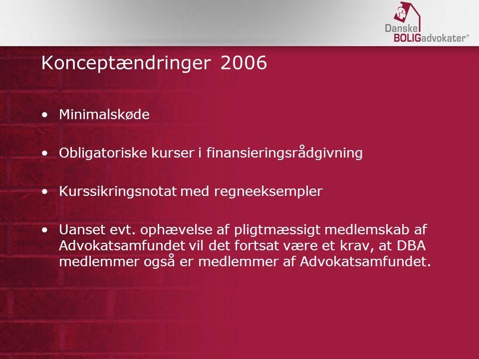 Konceptændringer 2006 Minimalskøde Obligatoriske kurser i finansieringsrådgivning Kurssikringsnotat med regneeksempler Uanset evt.