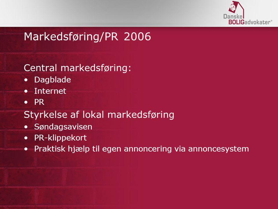 Markedsføring/PR 2006 Central markedsføring: Dagblade Internet PR Styrkelse af lokal markedsføring Søndagsavisen PR-klippekort Praktisk hjælp til egen annoncering via annoncesystem