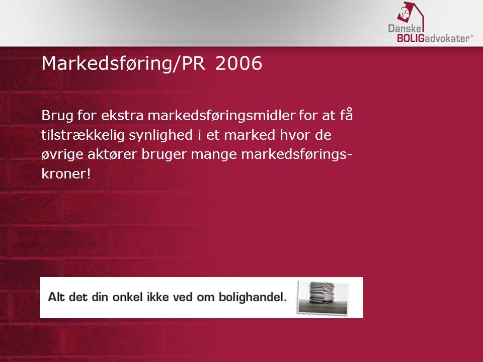 Markedsføring/PR 2006 Brug for ekstra markedsføringsmidler for at få tilstrækkelig synlighed i et marked hvor de øvrige aktører bruger mange markedsførings- kroner!