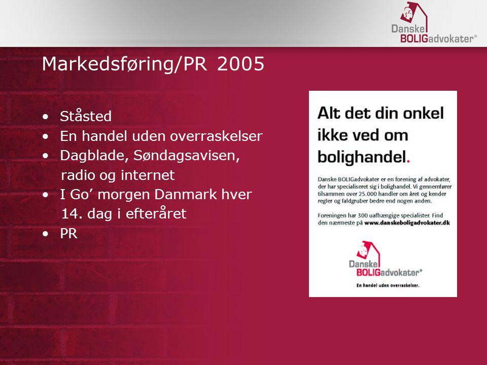 Markedsføring/PR 2005 Ståsted En handel uden overraskelser Dagblade, Søndagsavisen, radio og internet I Go' morgen Danmark hver 14.