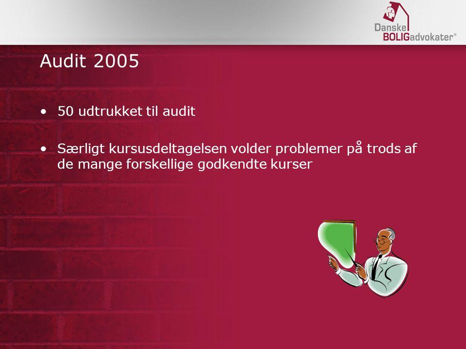 Audit 2005 50 udtrukket til audit Særligt kursusdeltagelsen volder problemer på trods af de mange forskellige godkendte kurser
