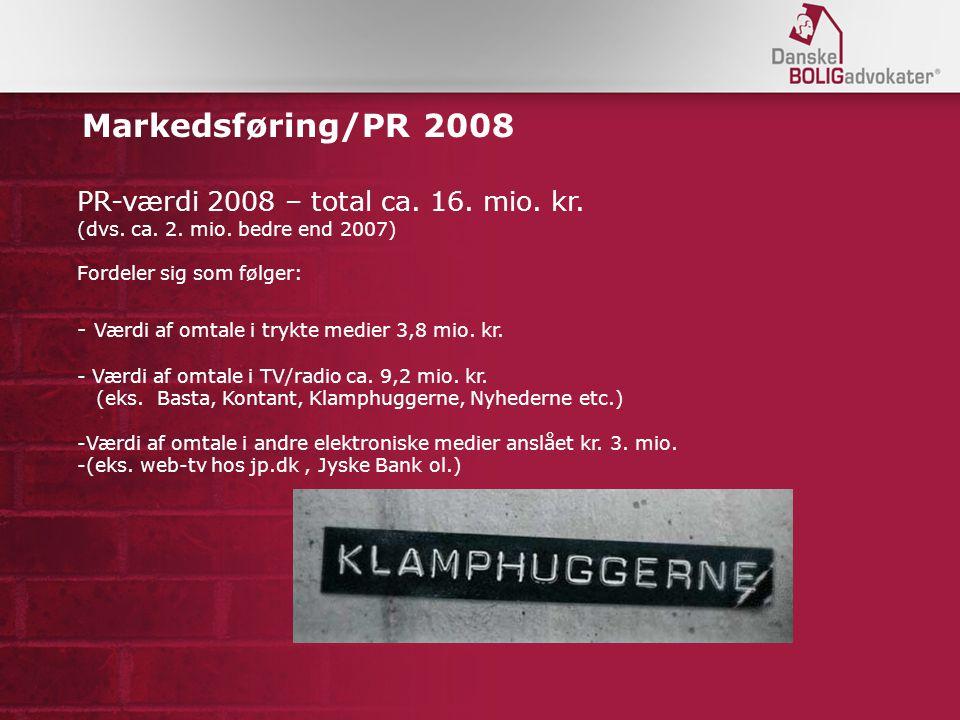 Markedsføring/PR 2008 PR-værdi 2008 – total ca. 16.