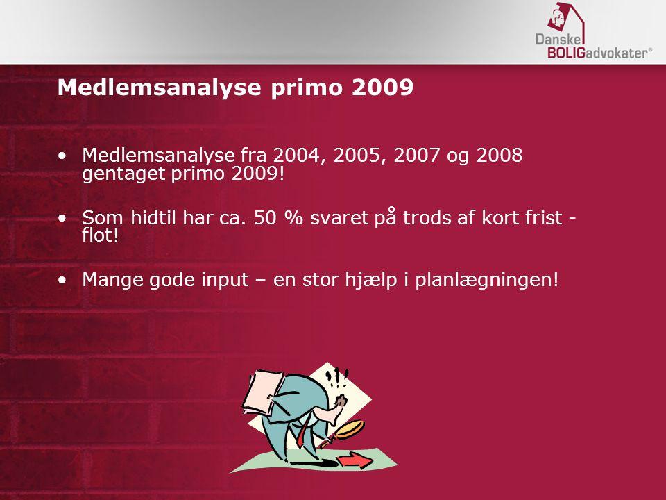 Medlemsanalyse primo 2009 Medlemsanalyse fra 2004, 2005, 2007 og 2008 gentaget primo 2009.