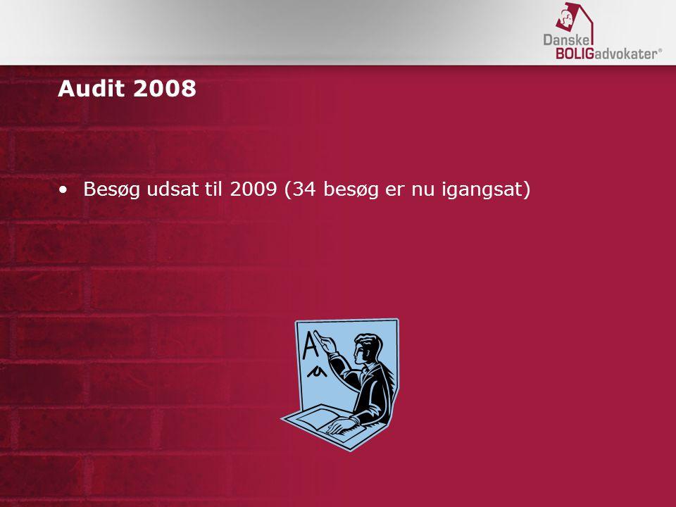 Audit 2008 Besøg udsat til 2009 (34 besøg er nu igangsat)
