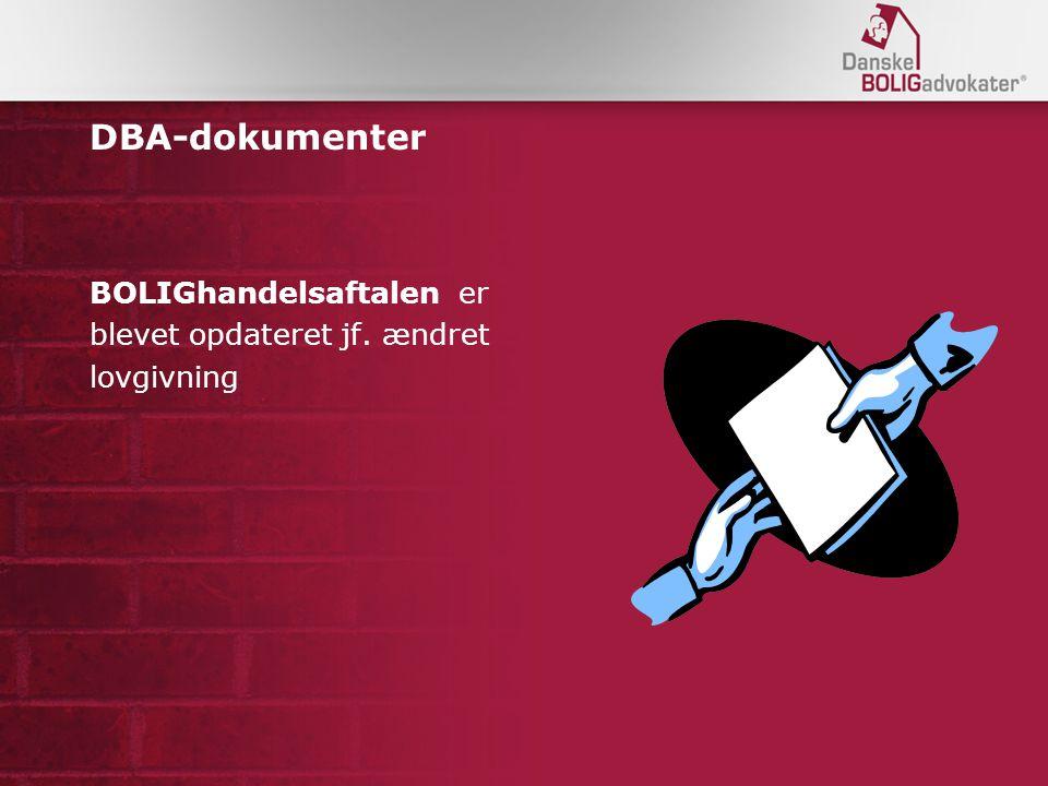 DBA-dokumenter BOLIGhandelsaftalen er blevet opdateret jf. ændret lovgivning