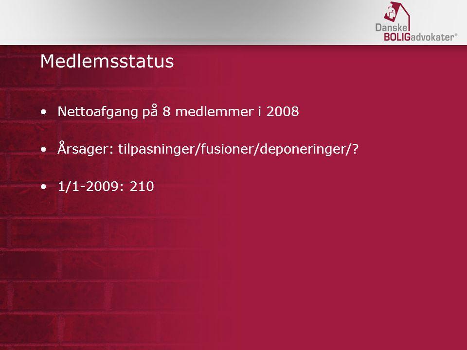 Medlemsstatus Nettoafgang på 8 medlemmer i 2008 Årsager: tilpasninger/fusioner/deponeringer/.