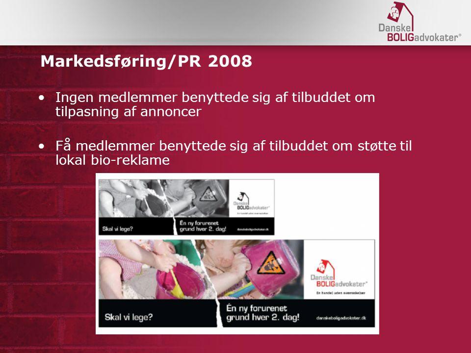 Markedsføring/PR 2008 Ingen medlemmer benyttede sig af tilbuddet om tilpasning af annoncer Få medlemmer benyttede sig af tilbuddet om støtte til lokal bio-reklame