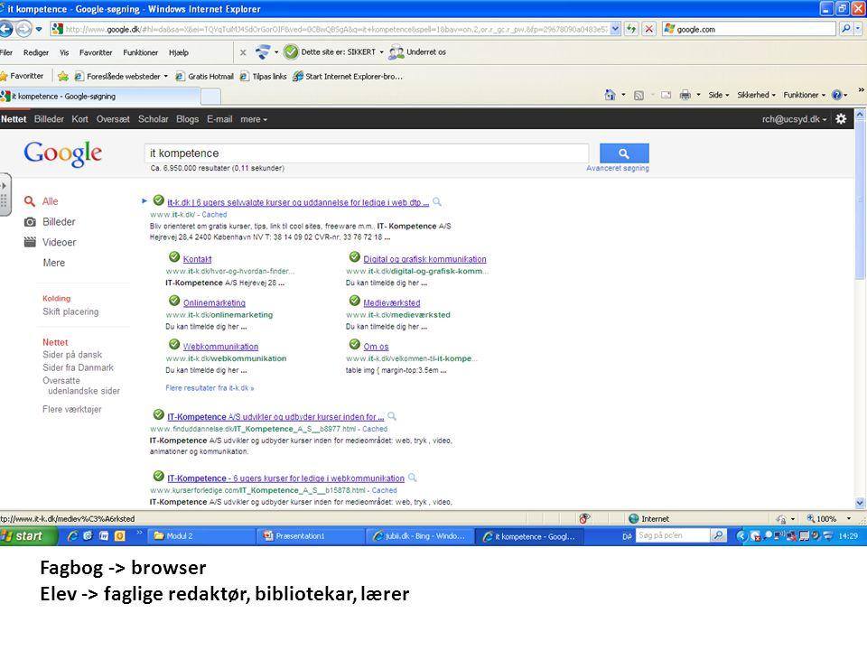 Fagbog -> browser Elev -> faglige redaktør, bibliotekar, lærer