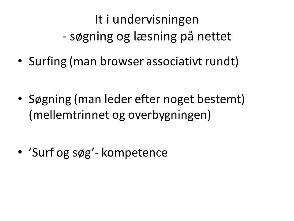 It i undervisningen - søgning og læsning på nettet Surfing (man browser associativt rundt) Søgning (man leder efter noget bestemt) (mellemtrinnet og overbygningen) 'Surf og søg'- kompetence
